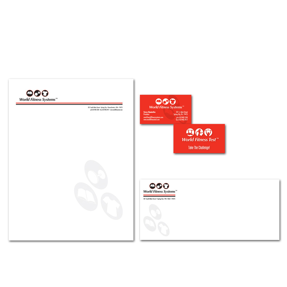 World Fitness Systems Letterhead, Business Card and Envelope Design ...