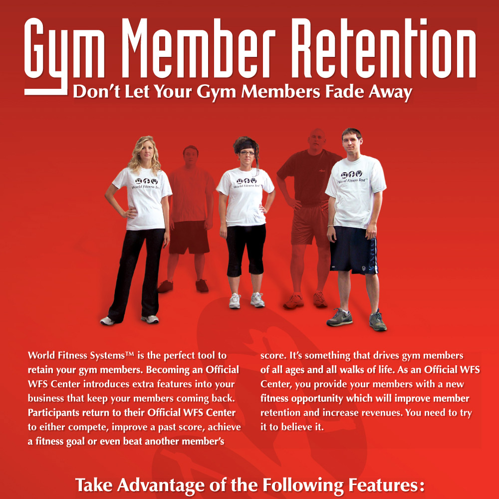 Advertisement, gym member retention, world fitness systems, graphic design print