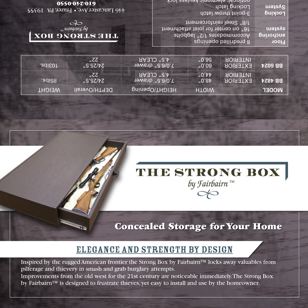 sales sheet, The Strong Box by Fairbairn marketing collateral, graphic design