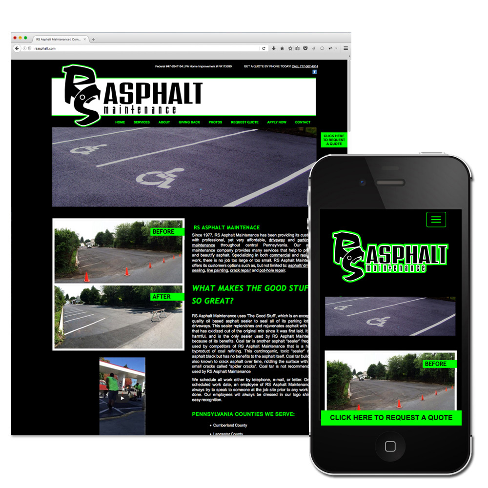 RS Asphalt Maintenance, Web Design